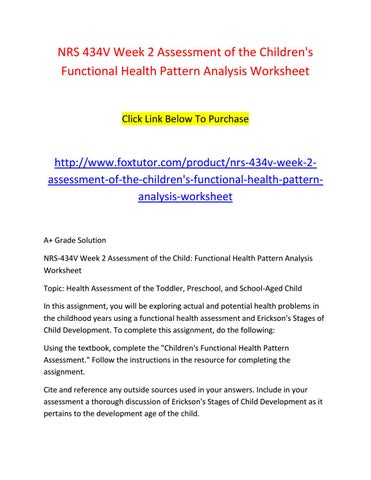Nrs 40v Week 40 Assessment Of The Children's Functional Health Beauteous Children's Functional Health Pattern Assessment
