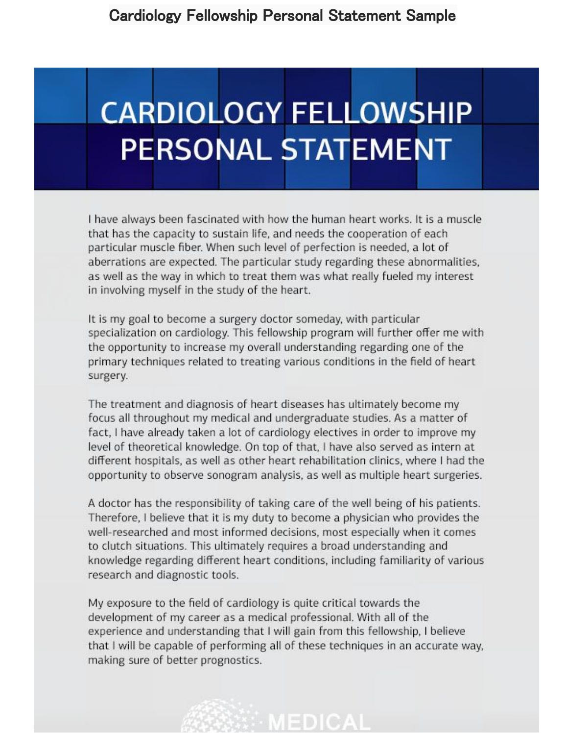 Cardiology Fellowship Personal Statement Sample by Medical