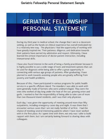 geriatric fellowship personal statement sample by medical fellowship