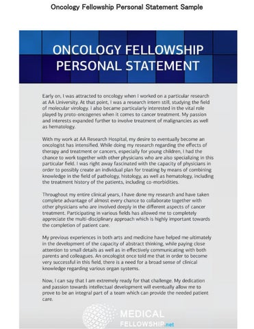 Oncology Fellowship Personal Statement Sample by Medical Fellowship