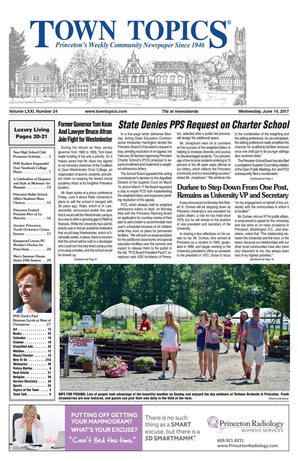 Town Topics Newspaper June 14, 2017 by Witherspoon Media