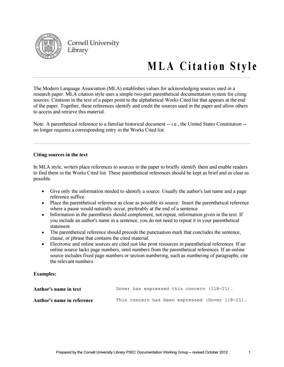 mla citation rules by chris mercer