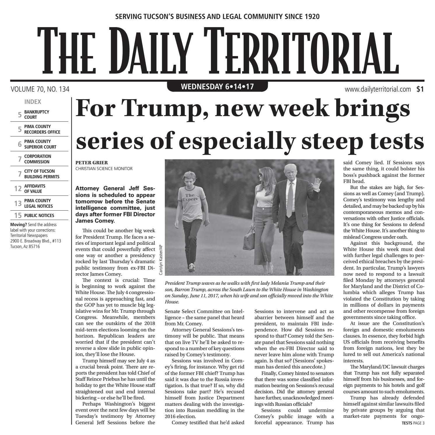 06/14/2017 The Daily Territorial by Wick Communications - issuu