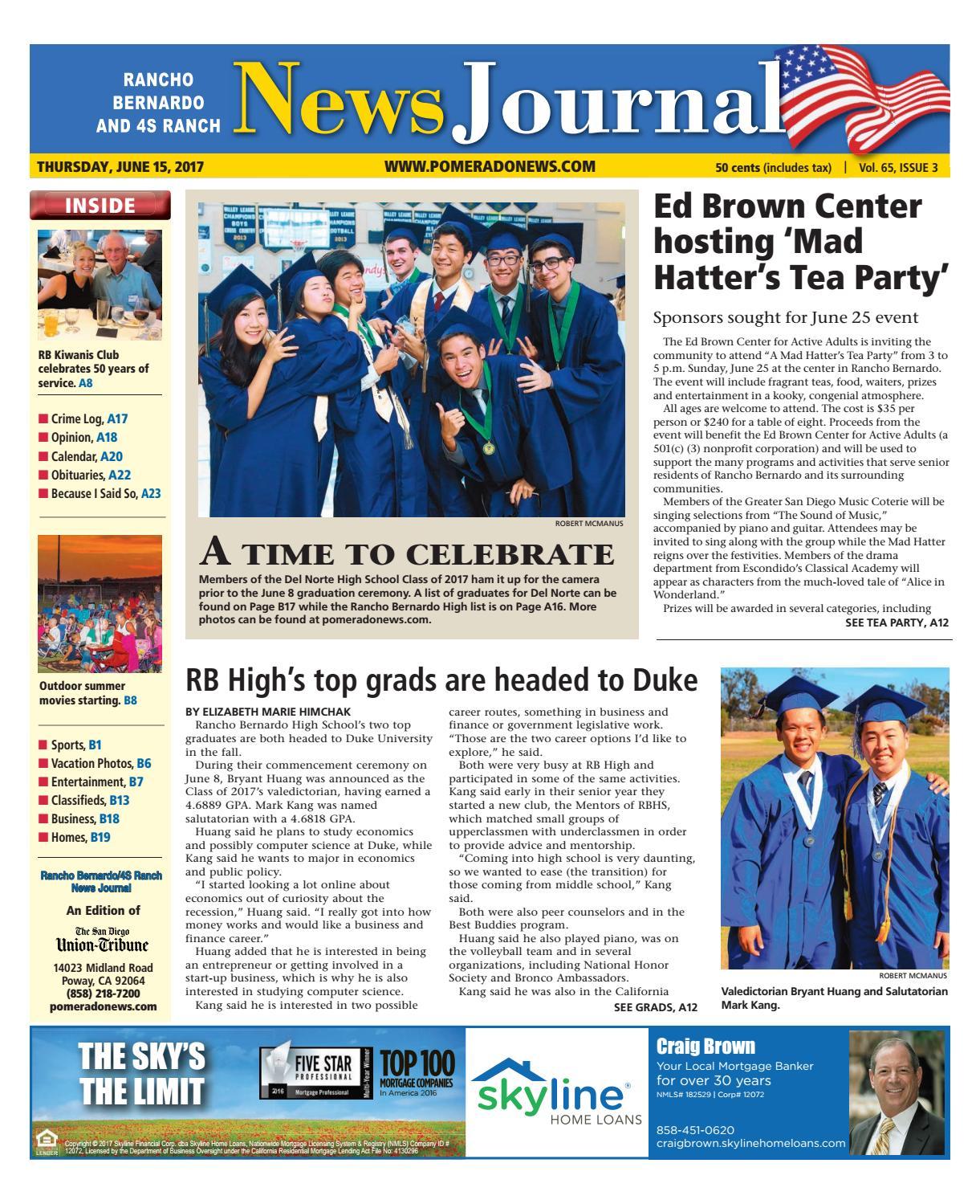 Rancho Bernardo News Journal 06 15 17 by MainStreet Media ...