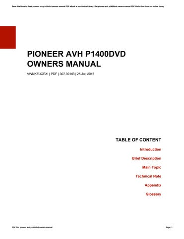 Pioneer Avh P1400dvd Owners Manual By Michellemarquis1660 Issuu