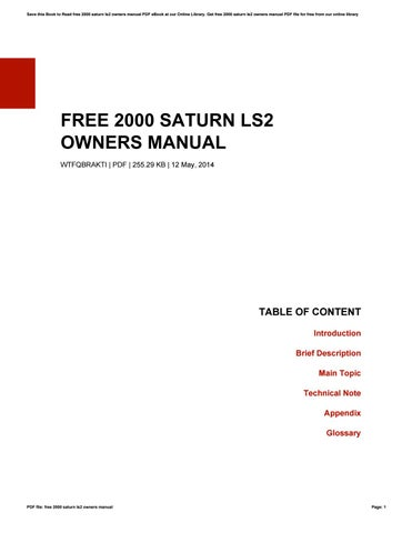 free 2000 saturn ls2 owners manual by kristaowens1474 issuu rh issuu com 2000 saturn owners manual pdf 2000 saturn lw1 owners manual