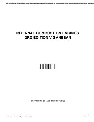 Internal Combustion Engine Book By V Ganesan Pdf