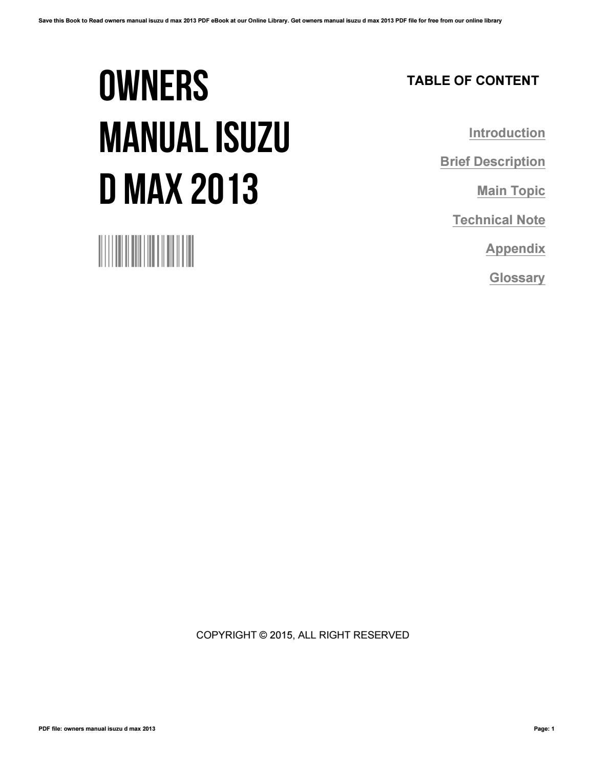 Owners Manual Isuzu D Max 2013 By Luisamorgan2384
