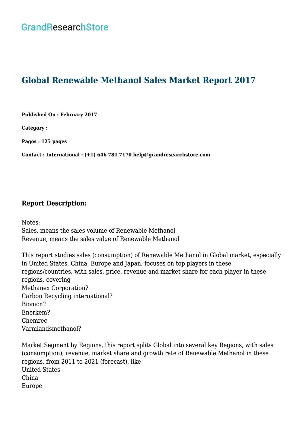Global renewable methanol sales grandresearchstore by Noah