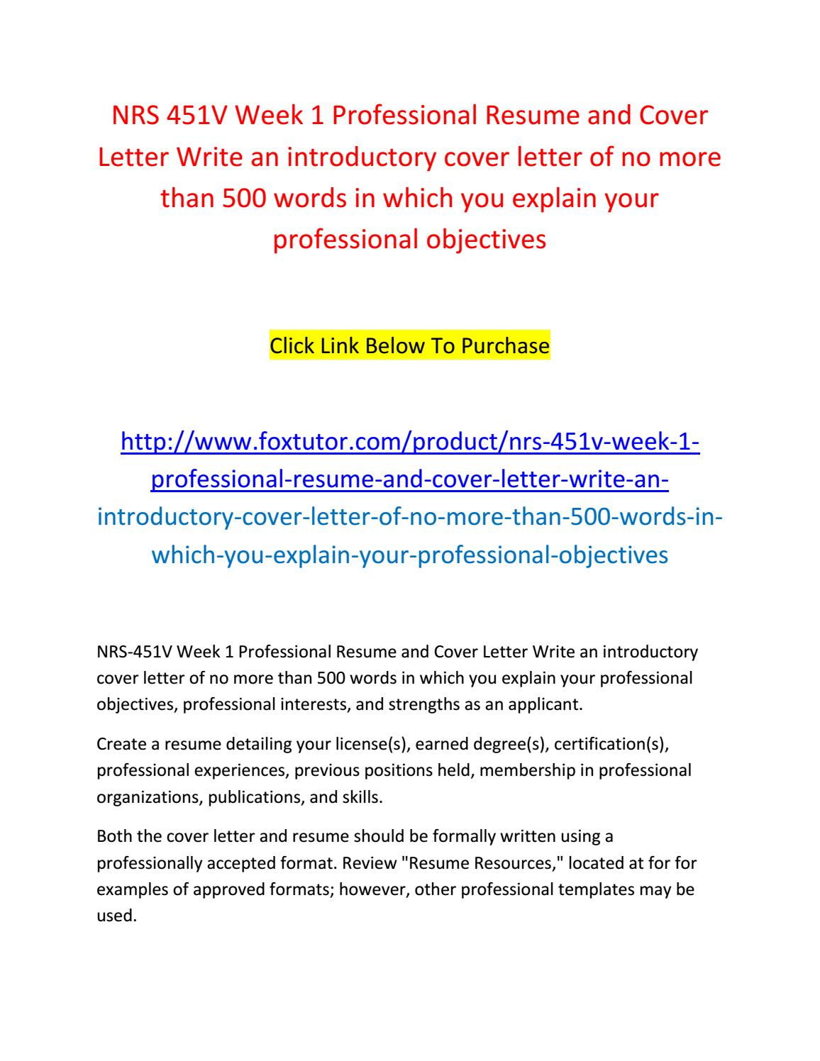 nrs 451v professional resume and cover letter Nrs 451v gc week 1 professional resume and cover letter $ 2500 add to cart discuss how a nurse approaches a discuss one real-life criminal case/discuss.