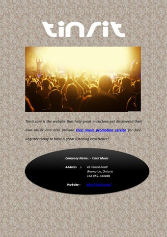 Free music promotion service by Tinrit Music - issuu