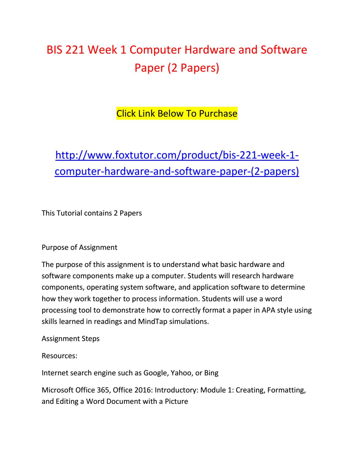 hardware and software report 2 essay 2012-8-13 feasibility studies, analysis of alternatives, and  • technical architecture of hardware • software components  potential options to 2-4 viable possibilities.
