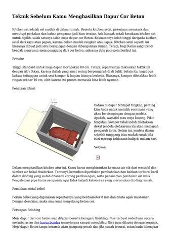 Teknik Sebelum Kamu Menghasilkan Dapur Cor Beton By