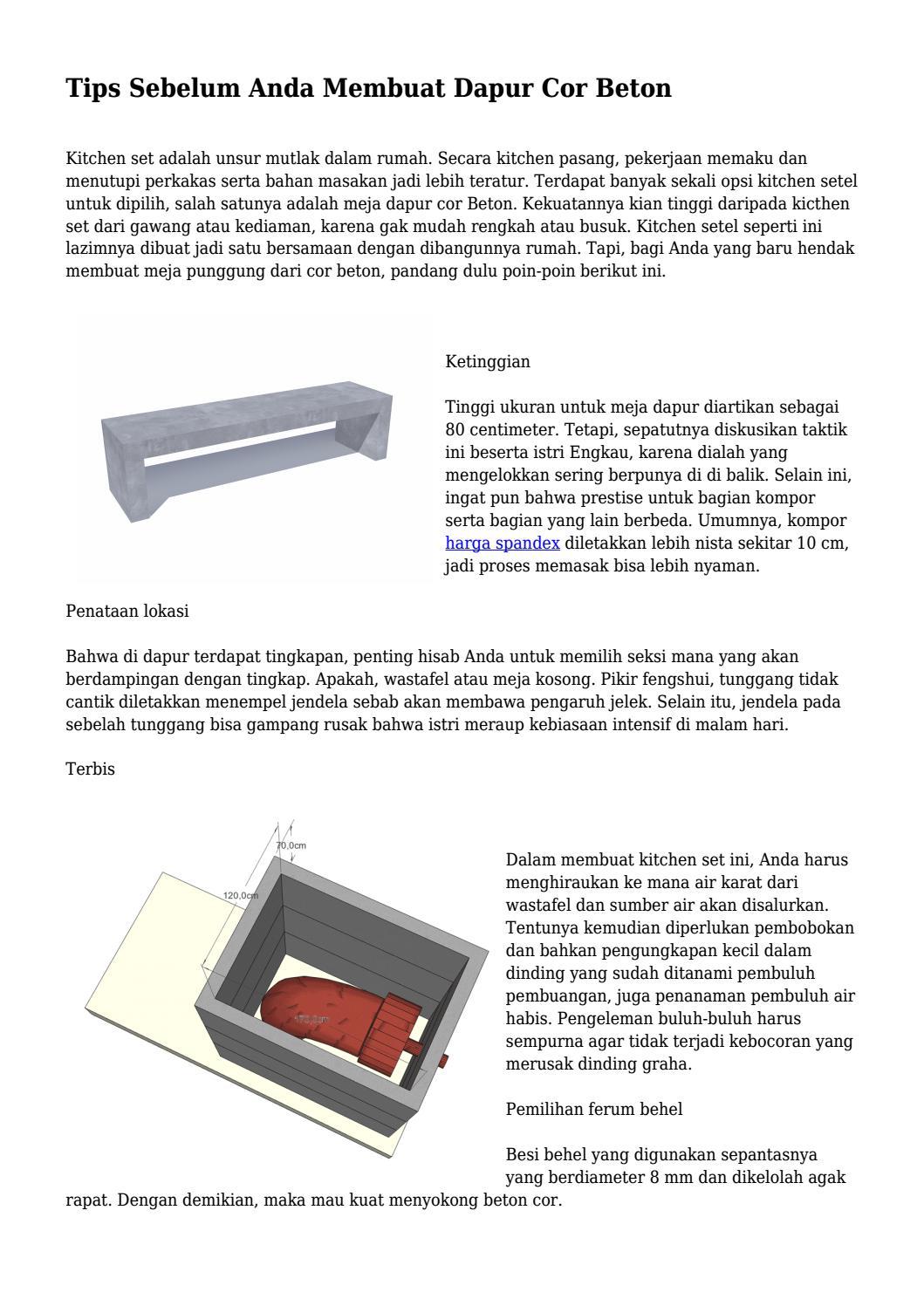 Tips Sebelum Anda Membuat Dapur Cor Beton By
