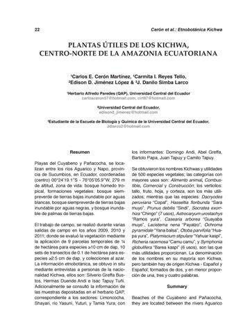 Cinchonia Vol. 12, # 1, 2012 (Parte 1) by FACULTAD DE CIENCIAS ...