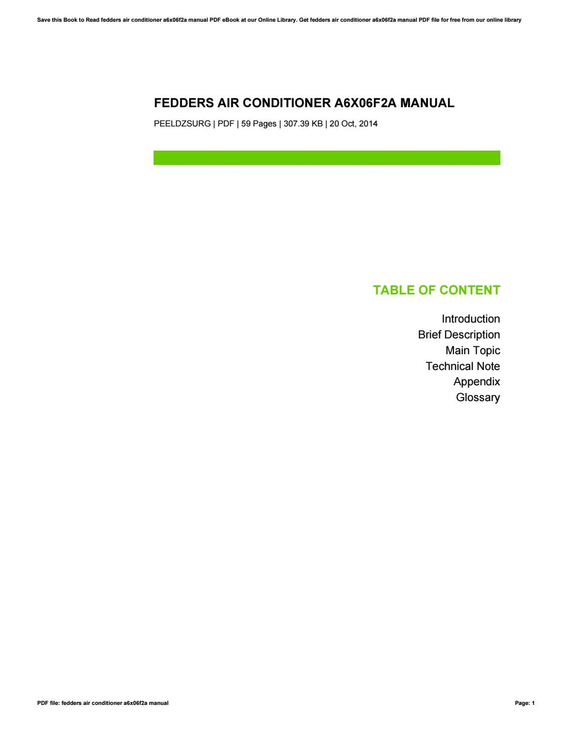 Fedders Air Conditioner A6x06f2a Manual By Raymondbanda4423 Issuu Handler Wiring Diagram