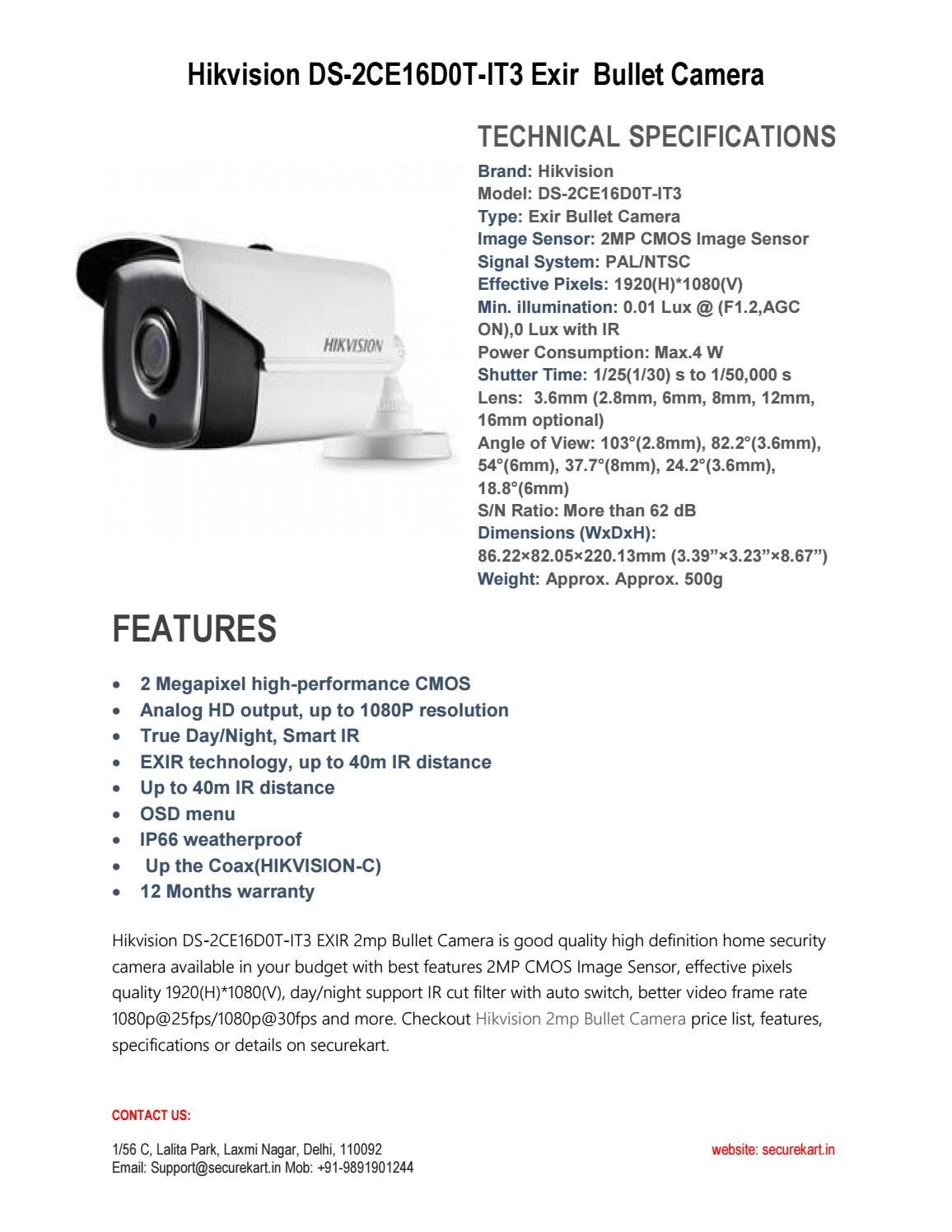 Hikvision ds 2ce16d0t it3 Exir 2mp Bullet Camera by securekart - issuu
