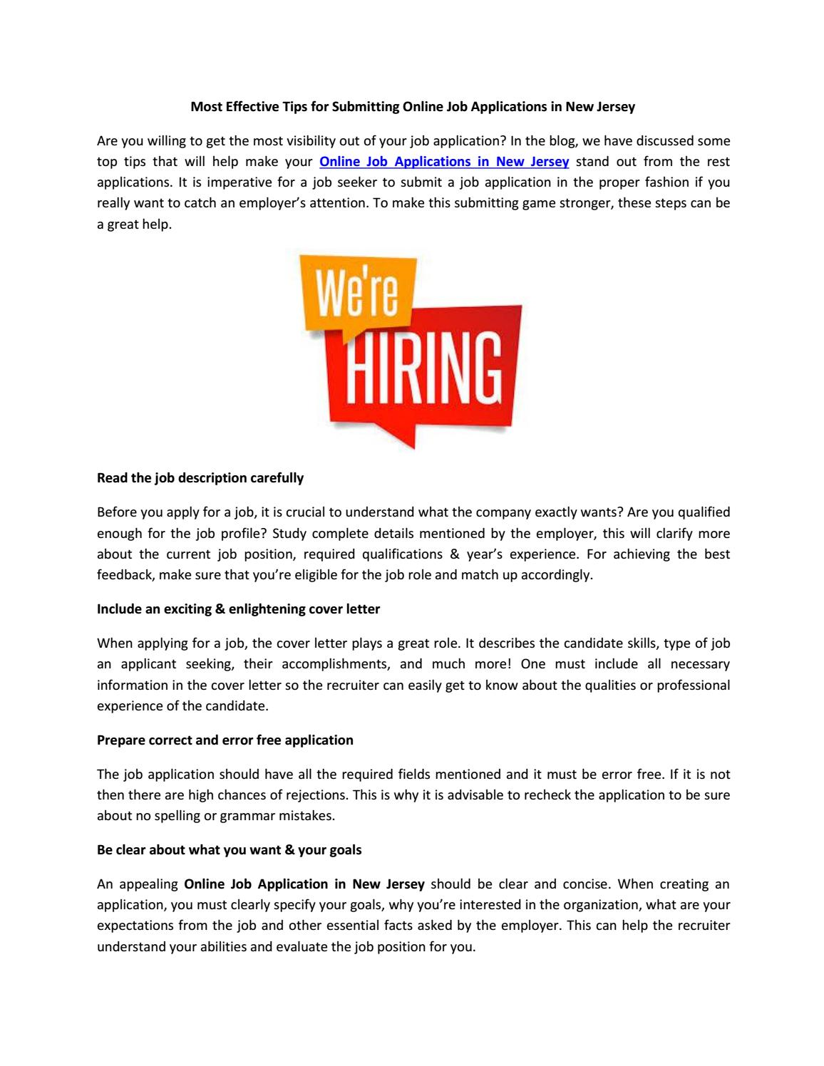 Most Effective Tips For Submitting Online Job Applications In New Jersey By  Omniicareer   Issuu