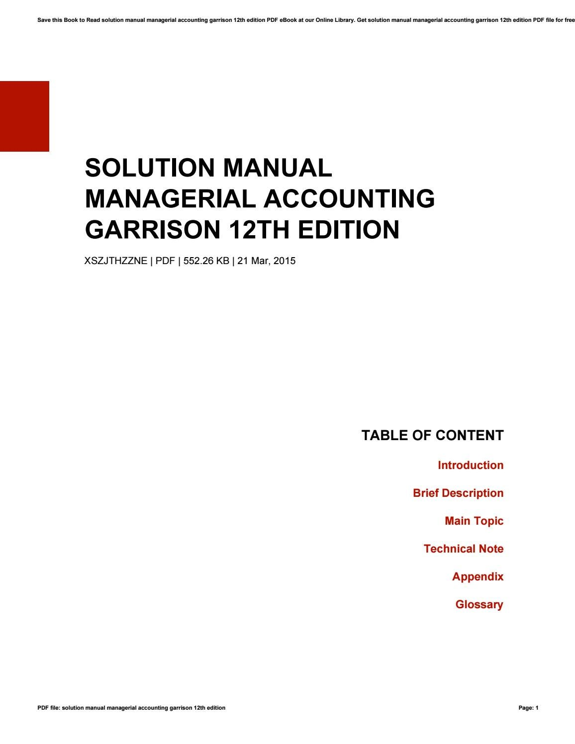 Solution manual managerial accounting garrison 12th edition by Maria - issuu