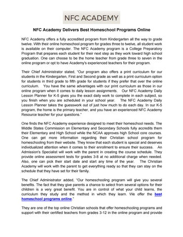 nfc academy delivers best homeschool programs online by nflcacademy