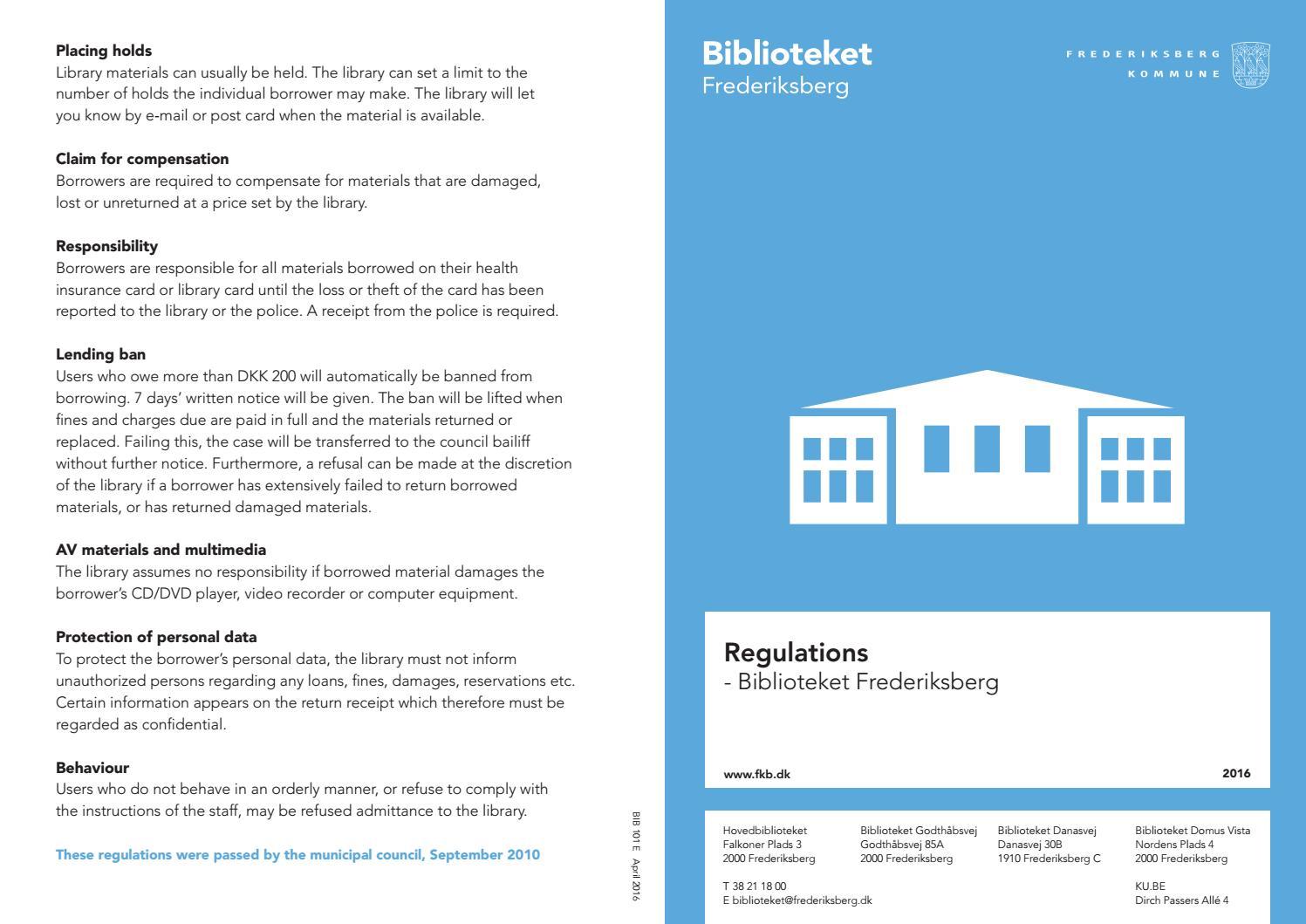 Library Regulations By Frederiksberg Bibliotek Issuu