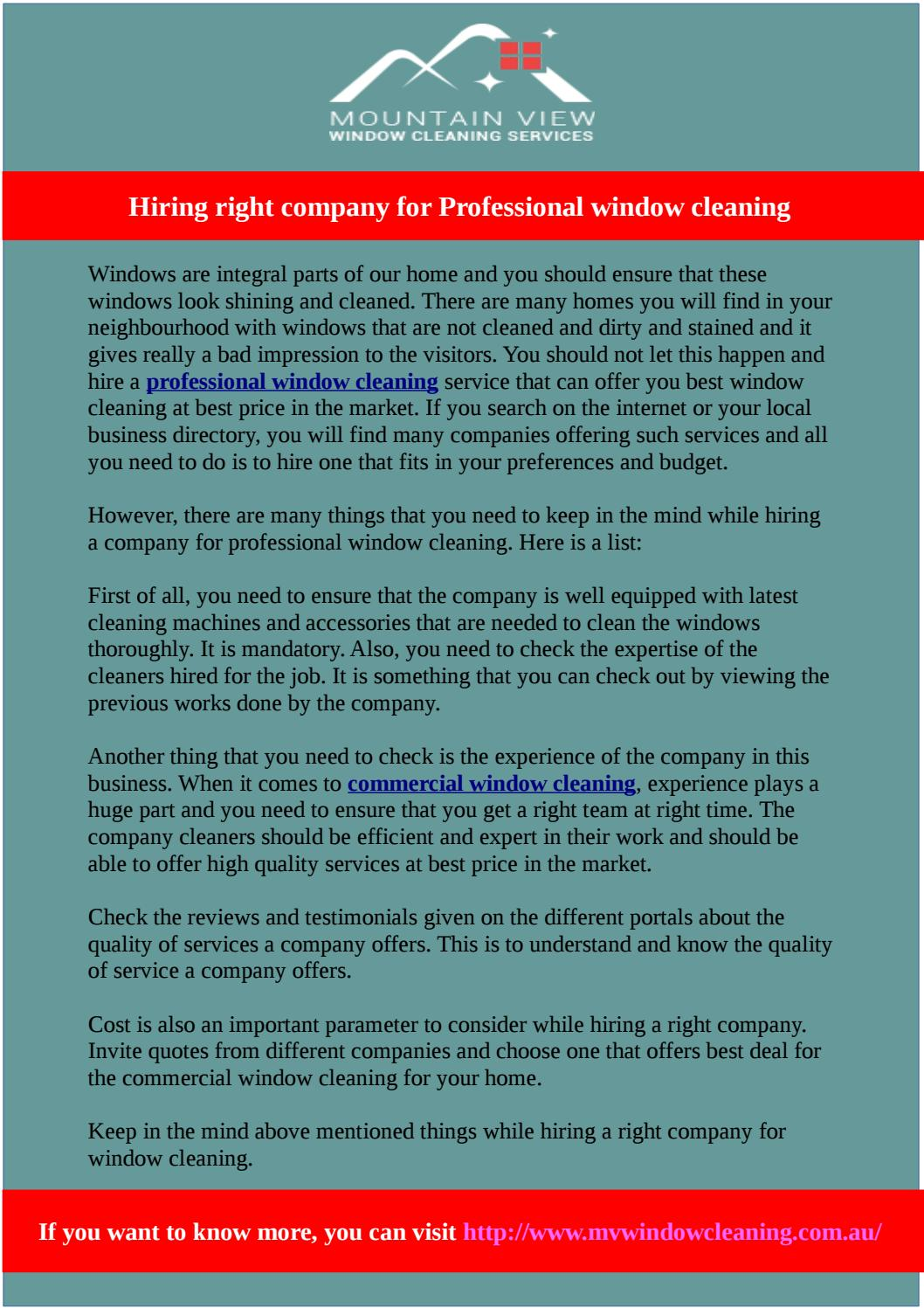 Best thing to clean windows with - Hiring Right Company For Professional Window Cleaning By Window Cleaning Issuu