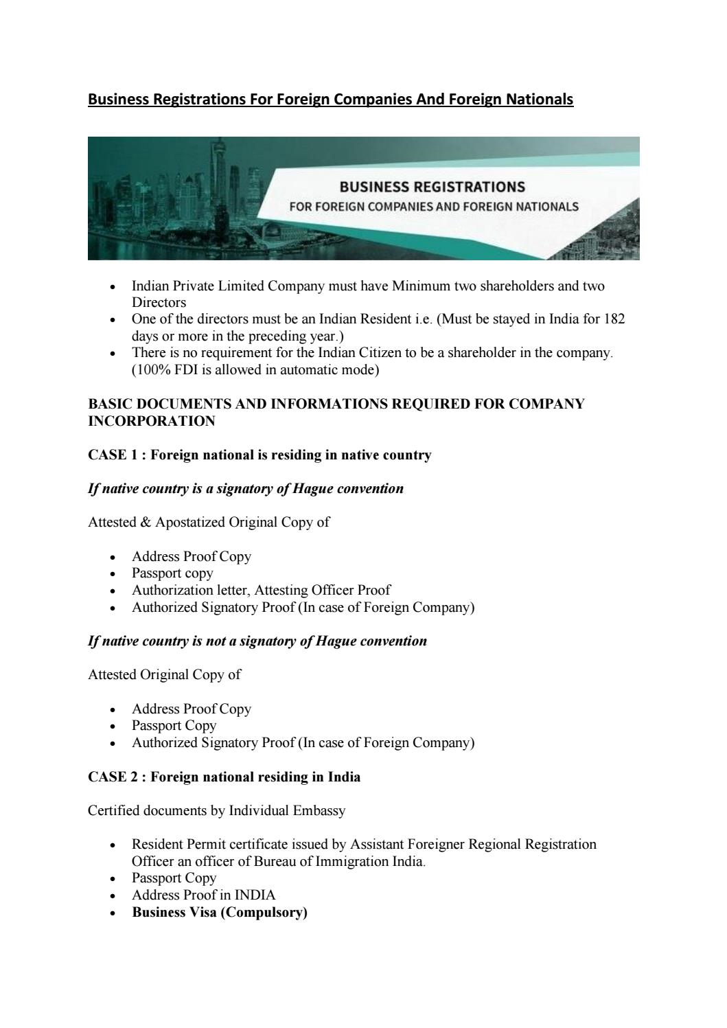 Business registrations for foreign companies and foreign