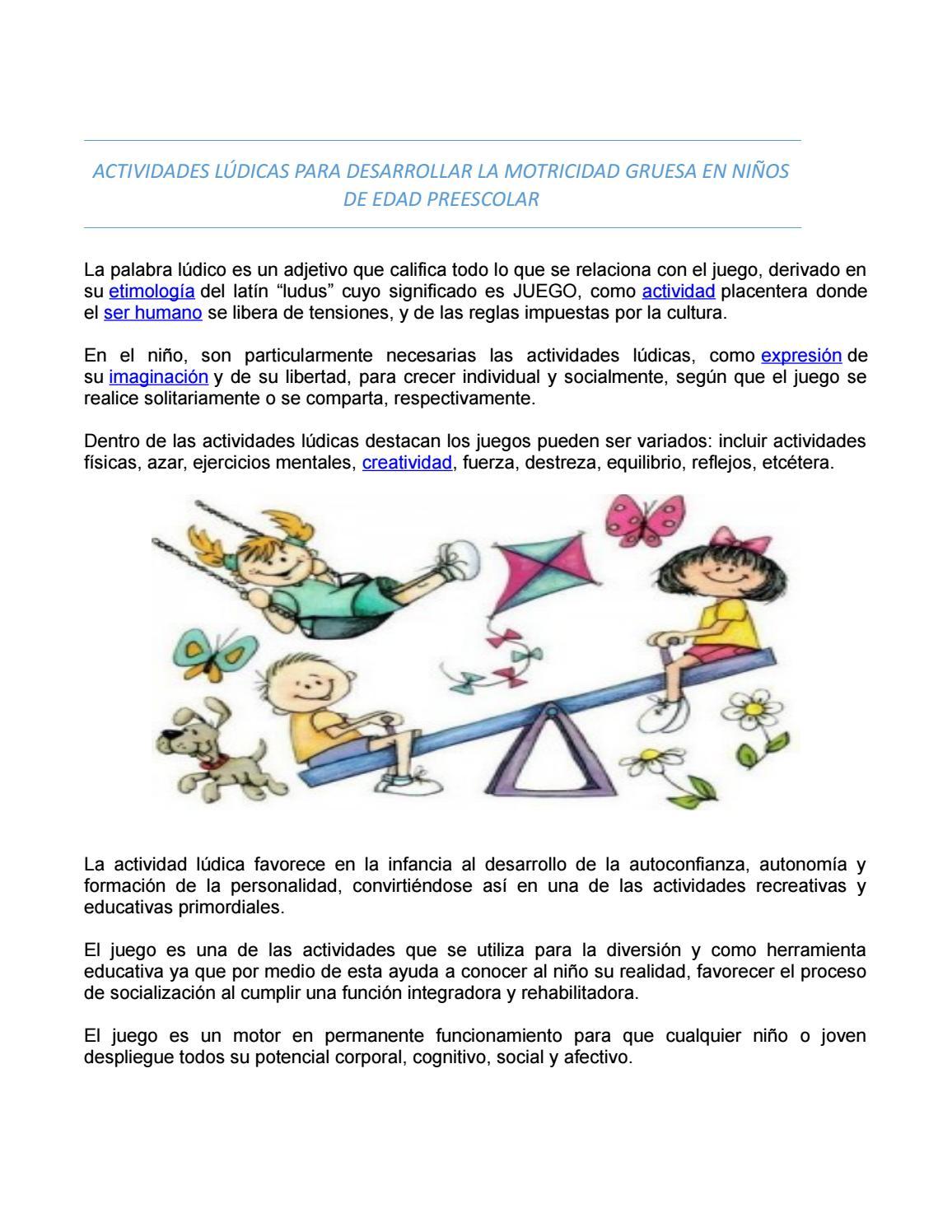 Actividades Lúcidas Para Desarrollar La Motricidad Gruesa En Niños De Edad Preescolar By Aury Issuu