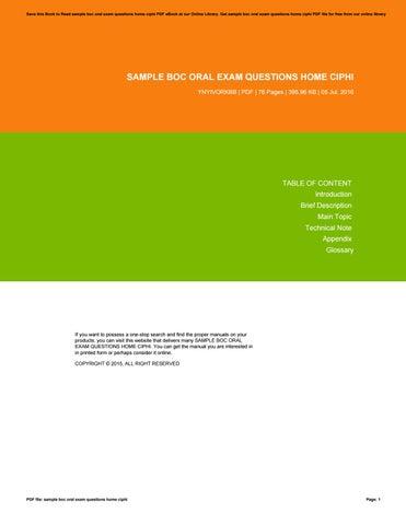 Sample boc oral exam questions home ciphi by RamonaMoon3924 - issuu