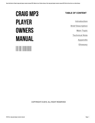 craig mp3 player owners manual by kristinpickrell2331 issuu rh issuu com Craig MP3 Player Pink Craig Digital MP3 Player Download