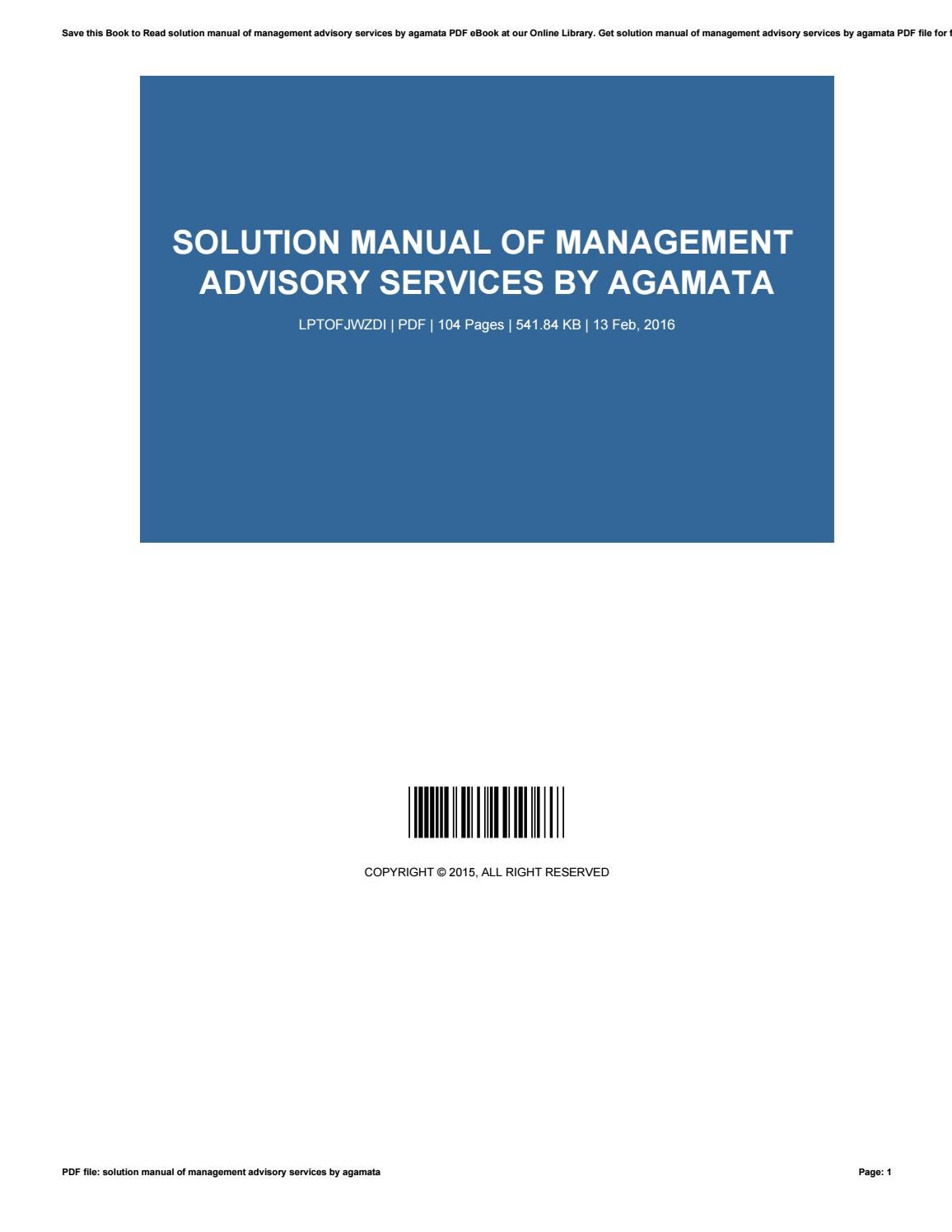 Solution manual of management advisory services by agamata by  ErnestSpradlin4346 - issuu