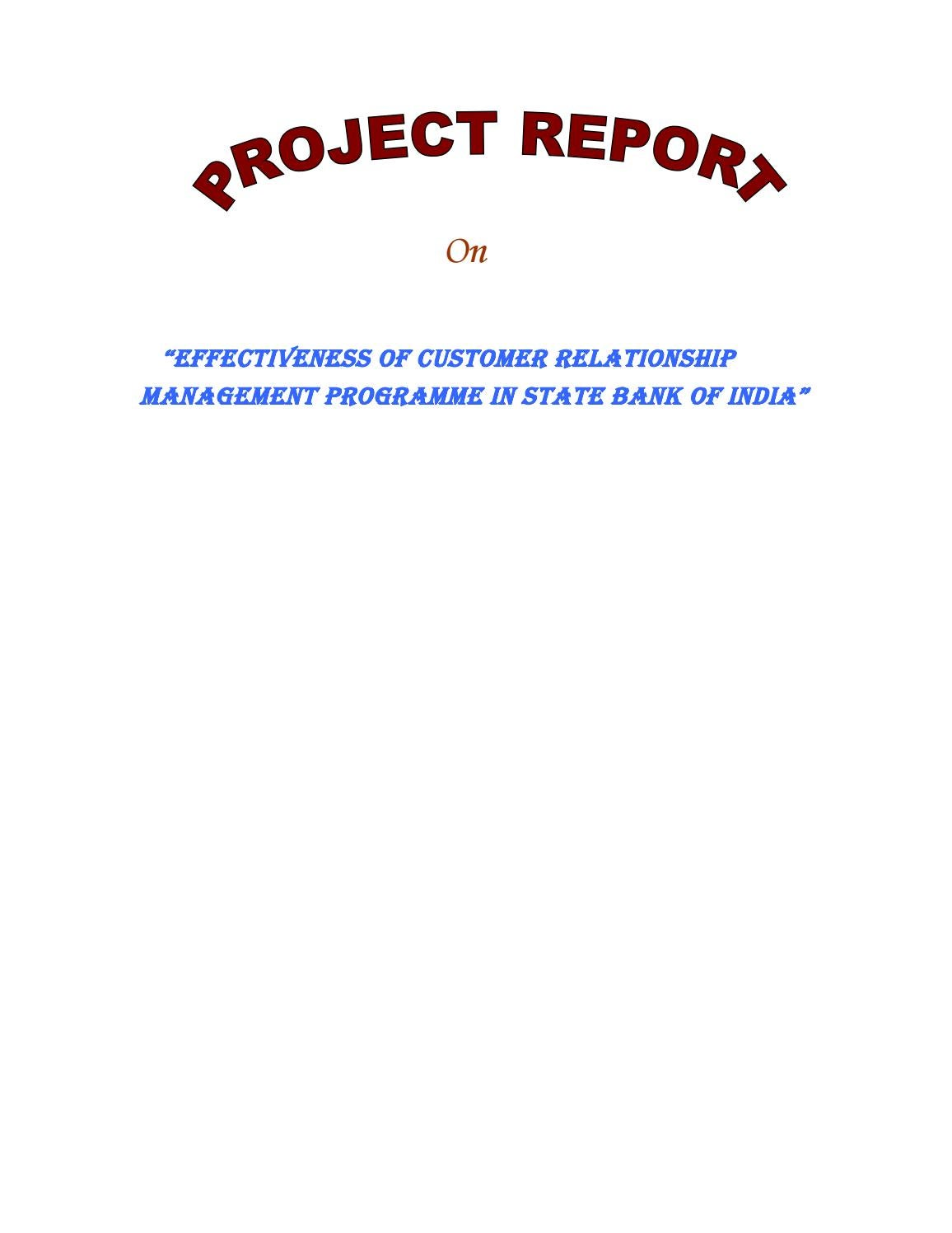 Effectiveness of customer relationship management programme