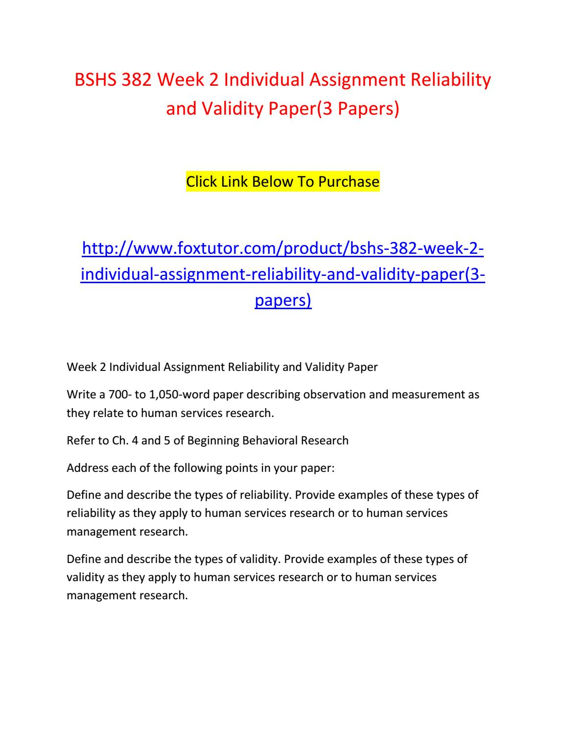 Bshs 382 Week 2 Individual Assignment Reliability And Validity Paper