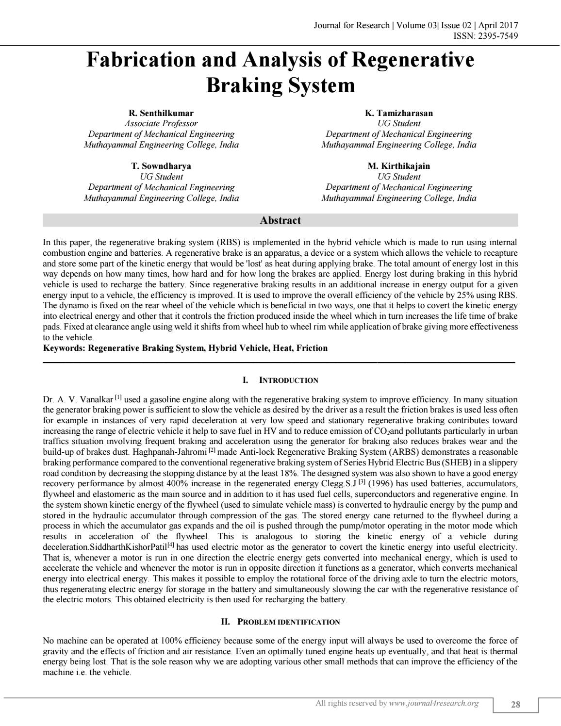 FABRICATION AND ANALYSIS OF REGENERATIVE BRAKING SYSTEM by