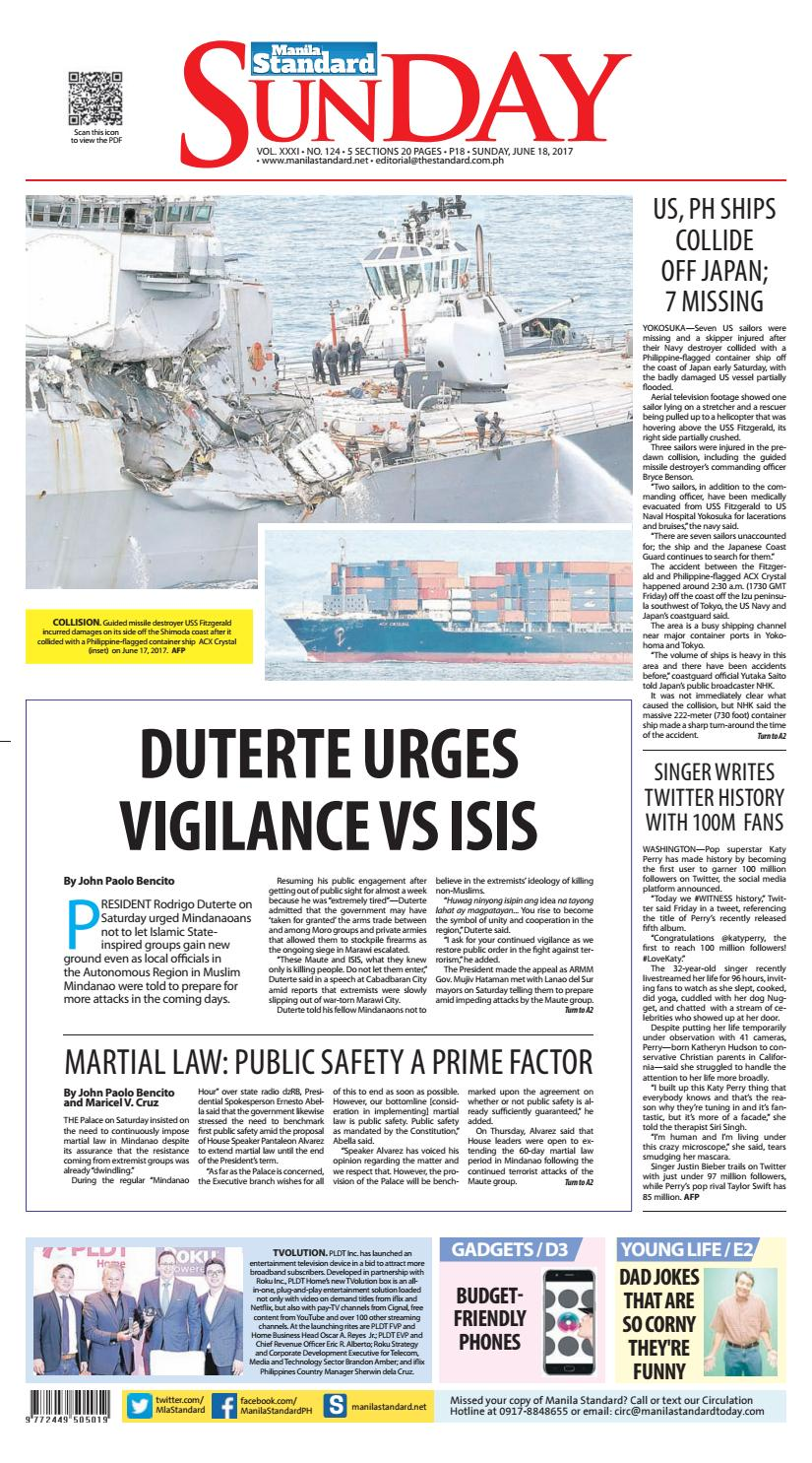 Manila Standard - 2017 June 18 - Sunday by Manila Standard - issuu