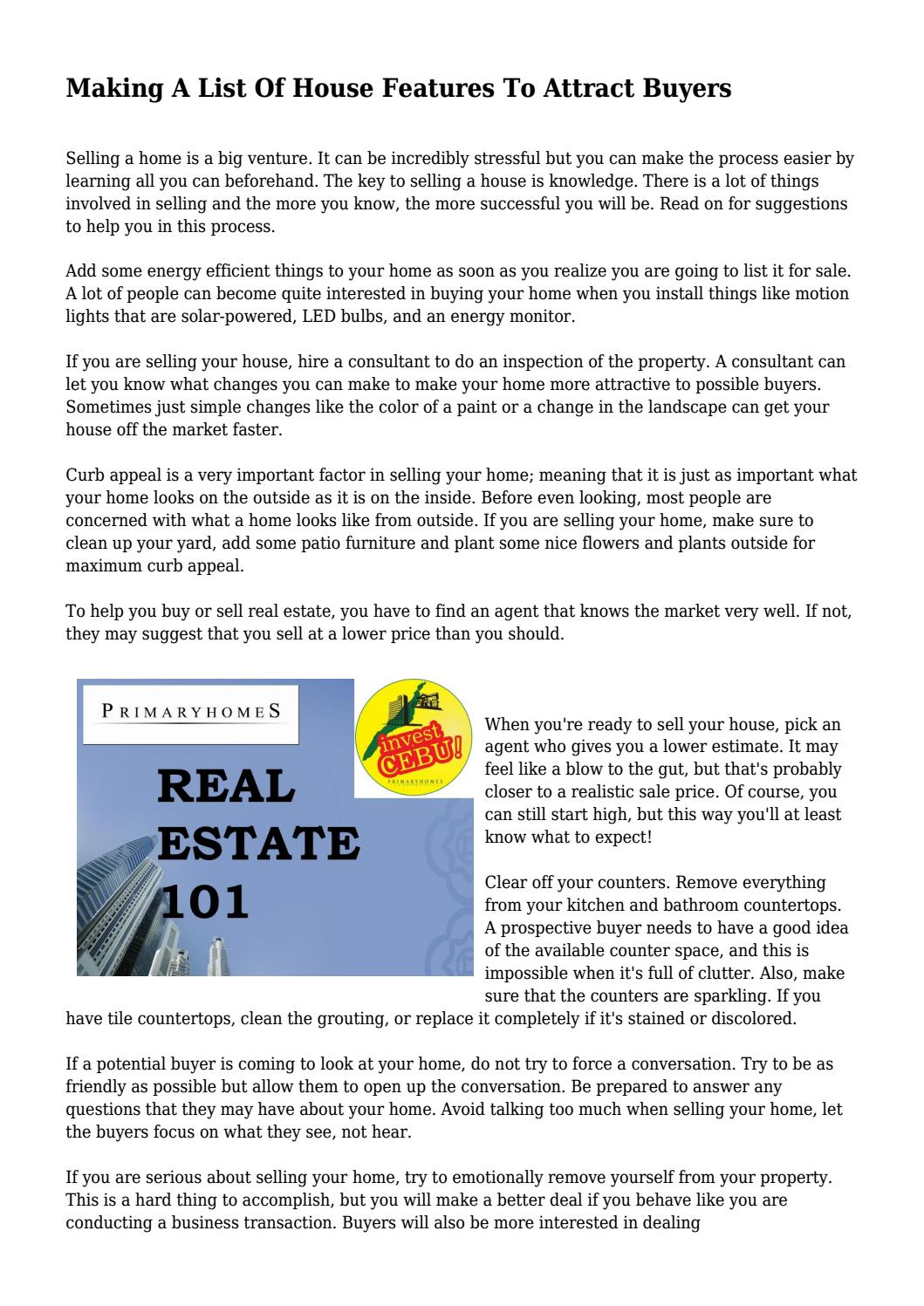 Making a list of house features to attract buyers by making a list of house features to attract buyers by lackingarson899 issuu solutioingenieria Images