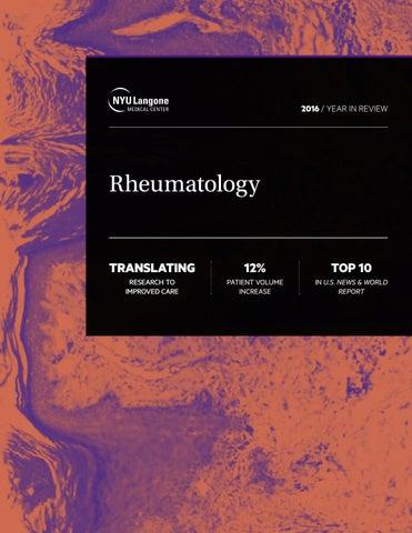 NYU Langone Medical Center Rheumatology Report by New Leaf Graphic