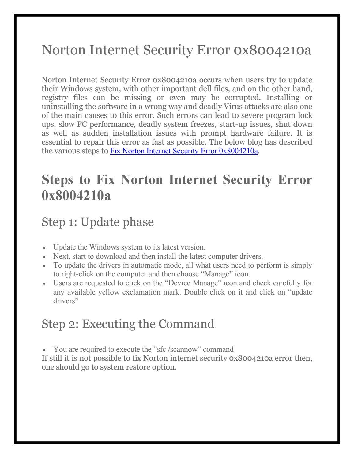 how to fix error 0x8004210a