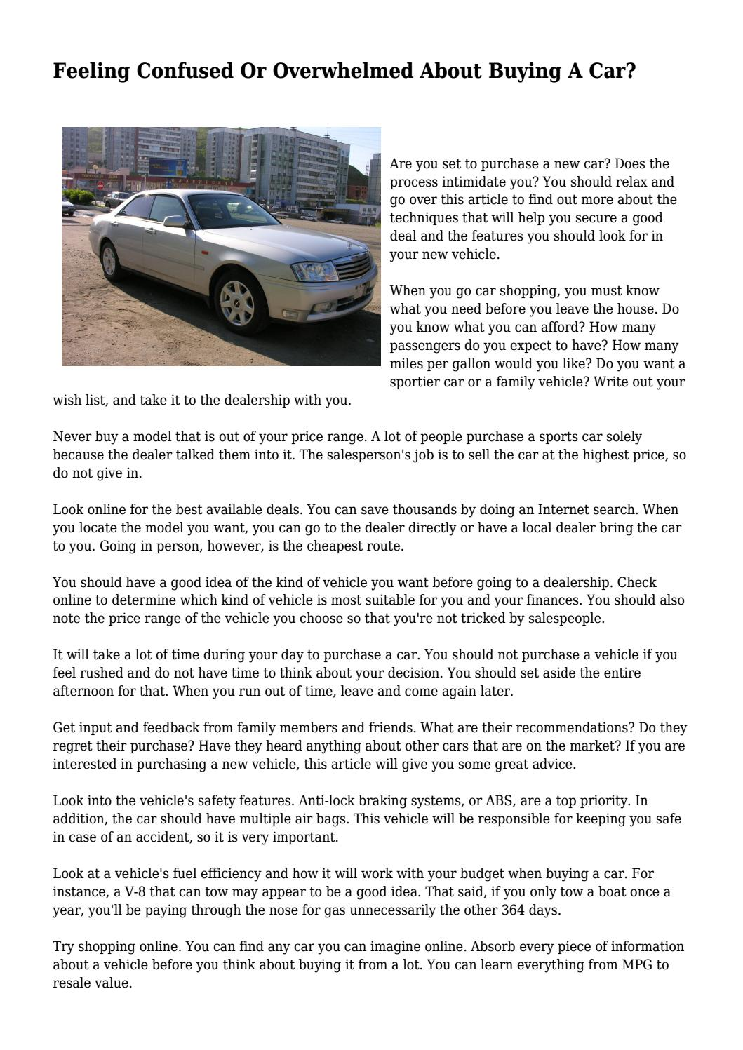feeling confused or overwhelmed about buying a car? by