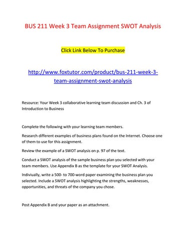 BUS 211 Week 3 Team Assignment SWOT Analysis  Example Swot Analysis Paper