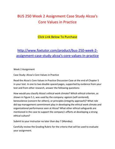 case study alcoas core values in practice