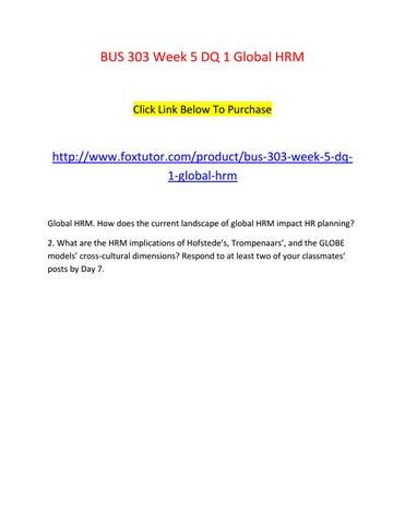 BUS 303 Week 5 DQ 1 Global HRM