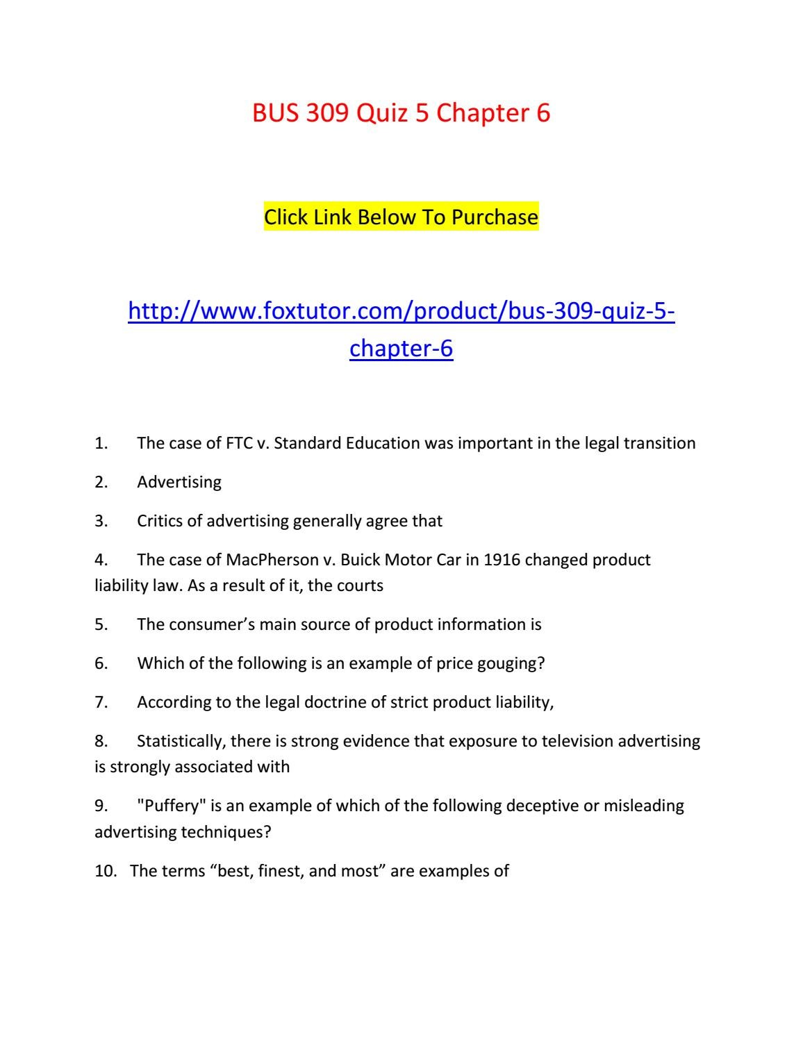 Bus 309 Quiz 5 Chapter 6 By Bus309ft Issuu