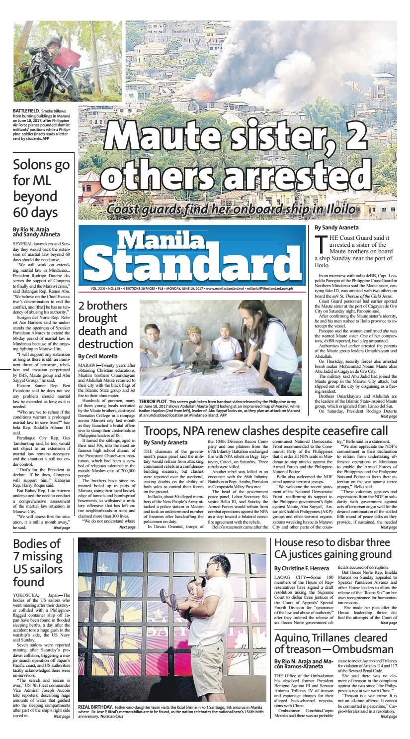 Manila Standard - 2017 June 19 - Monday by Manila Standard