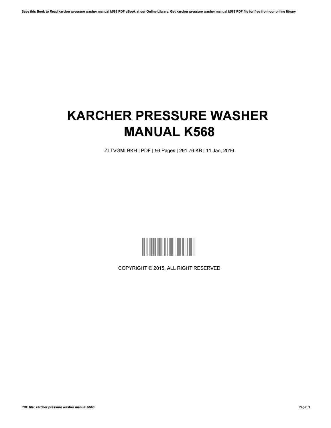 Karcher pressure washer manual k568 by RobertHendrickson4715