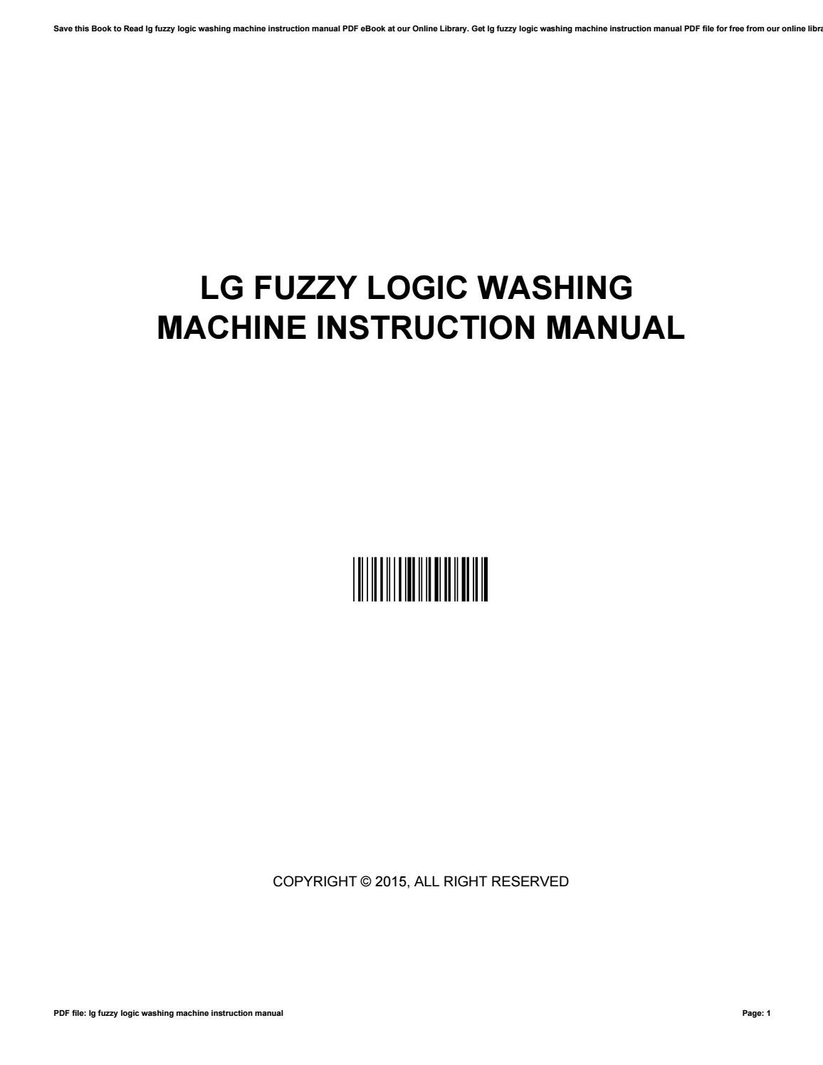 Lg fuzzy logic washing machine instruction manual by StevenCarr180211 -  issuu