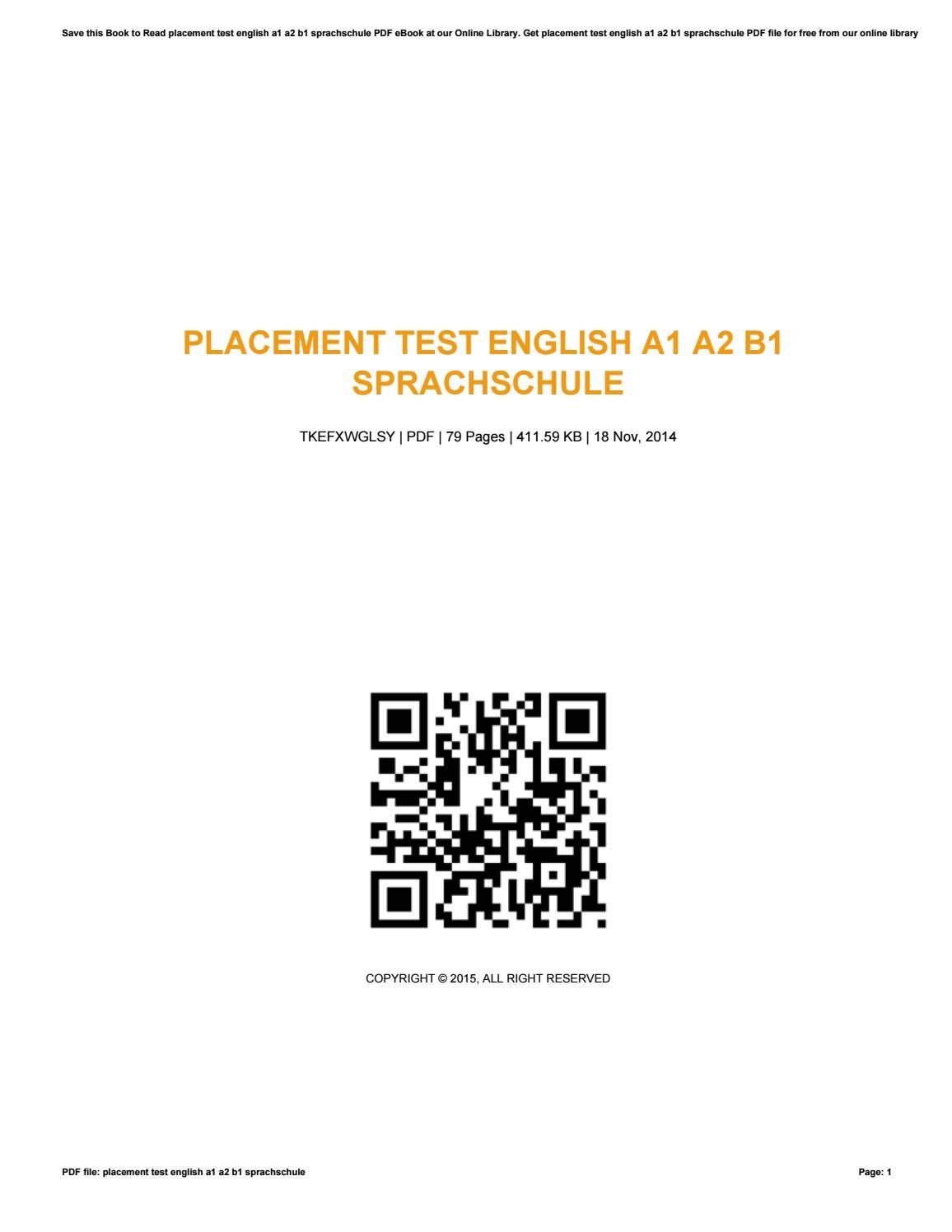 Placement test english a1 a2 b1 sprachschule