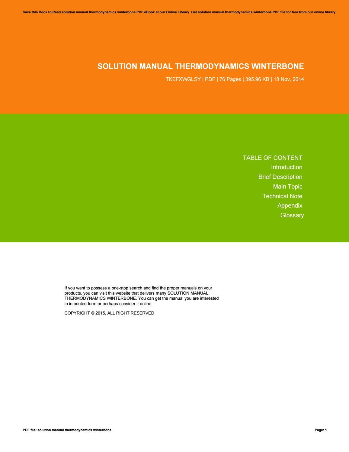 solution manual thermodynamics winterbone by floyd issuu rh issuu com Daniel Woodrell Winter's Bone Ending