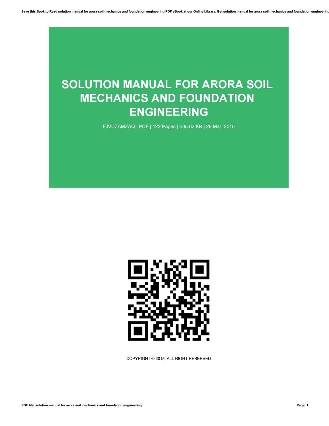 Solution manual for arora soil mechanics and foundation engineering