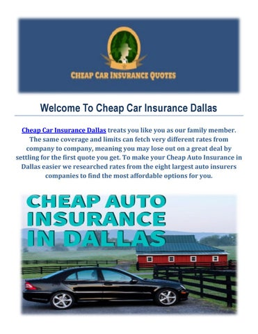 Cheap Auto Insurance Quotes In Dallas Tx By Cheap Car Insurance